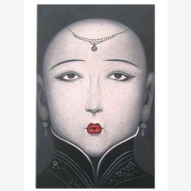 Portrait surréaliste de femme visage de porcelaine artistes de la peau connue huile sur toile Chine