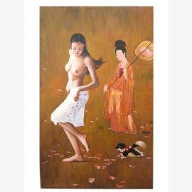 Chine femme nue taille de l'image que la peinture à l'huile originale sur la toile par un maître connu