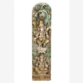 Grande sculpté image de mur en bois du dieu éléphant Ganesha