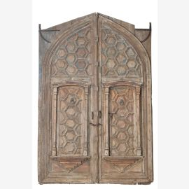Inde 1850 énorme porte du temple double porte avec cadre Rajasthan