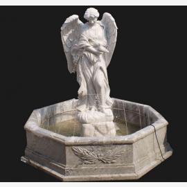 Angel sculpture grande fontaine pour parc de marbre blanc Classicisme