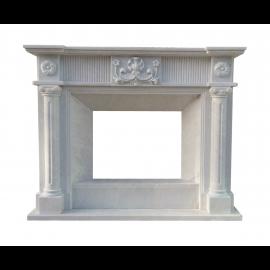 Cheminée solide en marbre floral