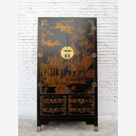 Style colonial Chine noir de l'armoire haute simili cuir avec tiroirs
