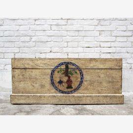 Chine Shanxi solide coffre de bois d'orme vers 1890 à la quincaillerie métallique couleur naturelle lumineux