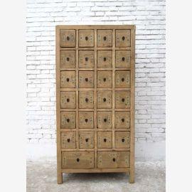 Chine haute commode pin armoire apothicaire avec 26 tiroirs en bois naturel