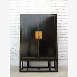 China Schrank Art Deco seltener großer Kabinett schwarz lackierte Pinie