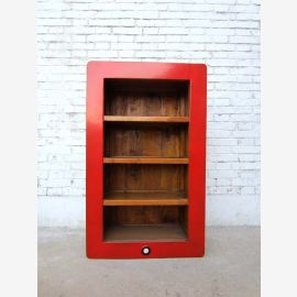 Chine moyenne ( i -shelf ) avec trois étagères et un cadre en bois de pin peint en rouge