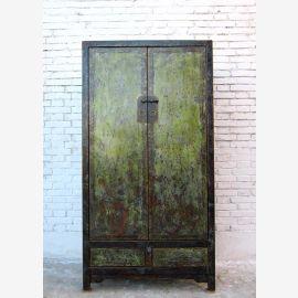 Chine homme mince haute avant d'armoire en orme vert foncé noir
