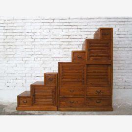 Grand coffre de la Chine de tiroirs hellbraunbeidseitig ouvrables étapes d' escaliers