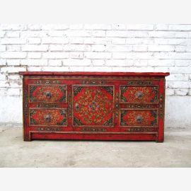 Chine petit cellier pendant 80 ans lowboard TV écran plat rustique en pin peint