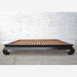Chinois opium grand lit lit lit double avec elm noir à lattes