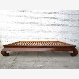 Chinois opium grand lit lit lit double avec sommier à lattes orme vernis brun
