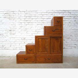 Chine idéal pour les escaliers de grenier brun clair commode tiroirs des deux côtés ouvrants nombreux