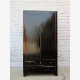 Chine noble grande armoire cabinet noir laqué en bois de pin