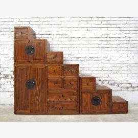Chine idéal pour les escaliers de grenier de nombreux tiroirs brun naturel a sorti deux côtés