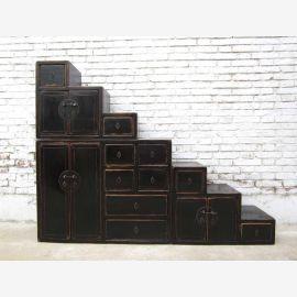 Les grandes étapes de la Chine de nombreux tiroirs commode brun-noir sur les deux côtés ouvrants