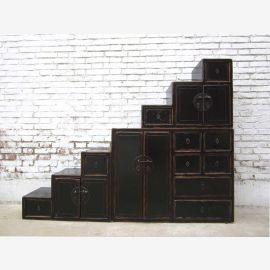 Grand coffre de la Chine de tiroirs escalier marron foncé nombreux tiroirs extensibles des deux côtés