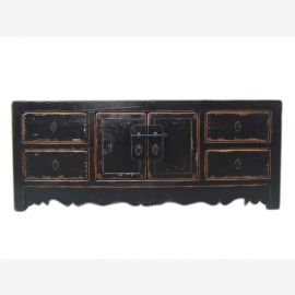 Chine poitrine plate classique de tiroirs circa 1920 laiton laqué noir