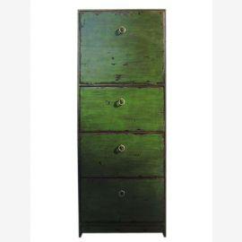 Chine tour de tiroir haute commode antique vert surface 4 tiroirs