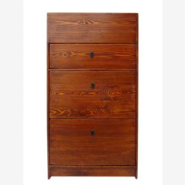 Chine chaussure mince armoire 3 tiroirs pin large antique rouge - brun