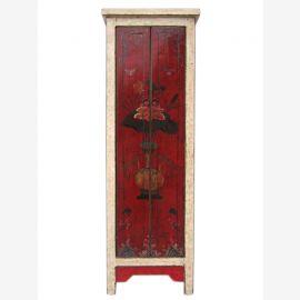 Chine minces armoire blanc de motifs floraux peints pin deux tons optique
