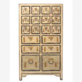 Chine haute apothicaire armoire haute planche de pin nature avec 18 tiroirs