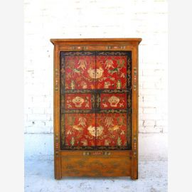 Tibet poitrine mince de tiroirs 90 années grande en bois de pin de peinture traditionnelle