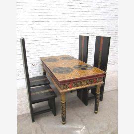 Jambes Chine grande table de salle à manger tournées en bois peint de pin rustique