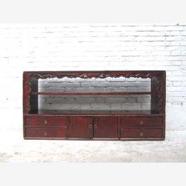 Chine minable commode chic et large plateau Buffet Buffet pin antique noir 80 années