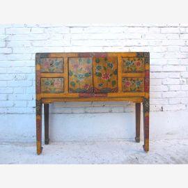 Tibet finement peint Buffet commode motifs floraux sur pin 80 années