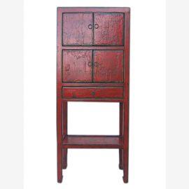 Chine Hebei élégant 1910 à mi-hauteur commode placard rouge - brun pin