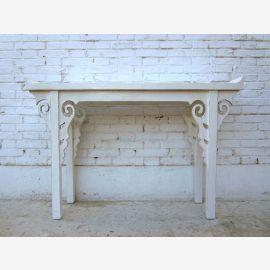 petite console mince table en pin plateau blanc crème antique Chine