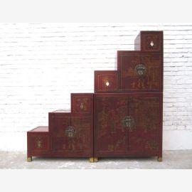 Chine Escaliers commode armoire brun rougeâtre fini antique en bois massif