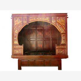 Chine peint en 1860 rêve d'un lit alcôve exceptionnellement