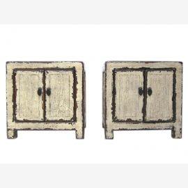 Chine petite table de chevet commode en solide paire de vieux pins