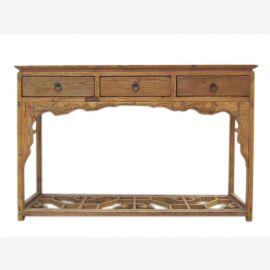 Bois d'orme lumière Chine 1860 table élégante commode garde-robe trois tiroir