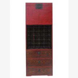 Crémaillère Chine haute commode vin armoire rouge-brun pin raccord en laiton