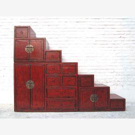 """Chine grande Escaliers poitrine marron nombreux tiroirs raccords en laiton des deux côtés ouvrants du """"Luxury-Park"""""""