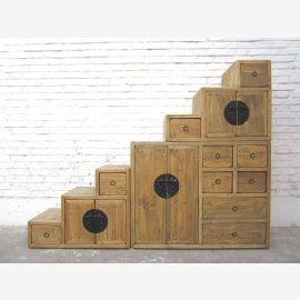 Chine Escaliers Les tiroirs de la commode de style champêtre pinède lumineux