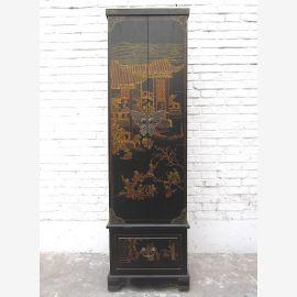 Chine highboard Cabinet or noir peint bois