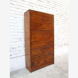 Chine armoire à chaussures bois ton pin 3 tiroirs larges et tiroirs latéraux
