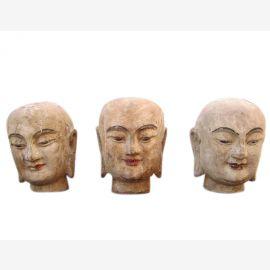 China 1930 3 x Kopf Portraet Skulptur Bildhauerarbeit Blauglockenbaum drei zur Auswahl