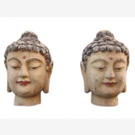 Chine 1920 2 x femmes tête portrait sculpture sculpture paulownia deux à choisir