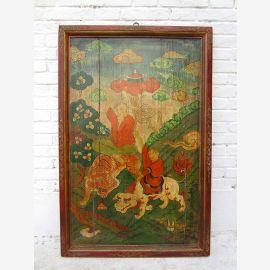 Chine Tibet 1930 massif traditionnellement peinte pays sur le panneau mural cadre de scène pin Luxury-park