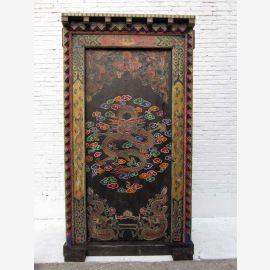 """Chine 1930 Grand pin antique porte peinte de porte en bois avec une solide rareté cadre de bijoux du """"Luxury-park"""""""