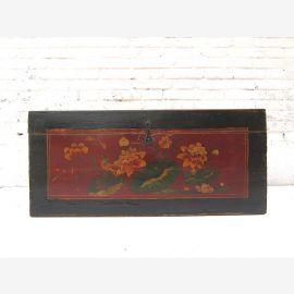 """Chine Mongolie sur 1890 petit coffre antique orme foncé avec belle peinture florale du """"Luxury-Park"""""""