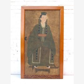 """Chine ancienne grande jeune noble prince peinture antique murale en pastels bois de pin verni 80 années du """"Luxury-Park"""""""
