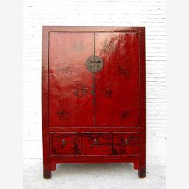 """Chine 1870 massif grand laiton bois placard de l'orme raccord brun laque rouge peinture classique du """"Luxury-park"""""""