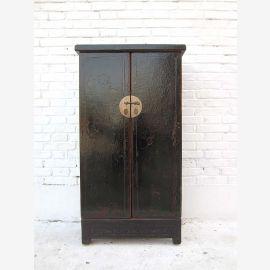"""Chine semi-haute crédence armoire laiton double ferrure de porte en bois de pin laqué noir du """"Luxury-park"""""""
