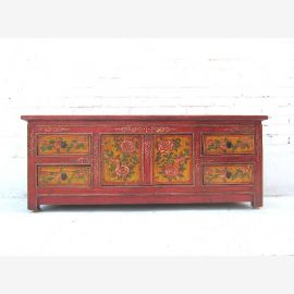 Chine 1920 Lowboard commode marron plat pin antique
